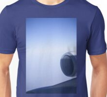 Jumbo jet airplane wing engine in flight flying over blue sky photo Unisex T-Shirt