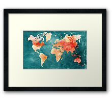 Blue and Red Map of the World - World Map for your walls Framed Print