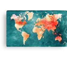 Blue and Red Map of the World - World Map for your walls Canvas Print
