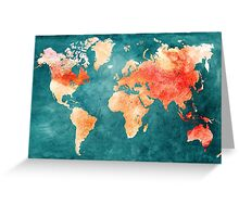 Blue and Red Map of the World - World Map for your walls Greeting Card