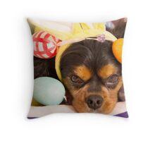 Cavalier King Charles Spaniel Easter Eggs Throw Pillow