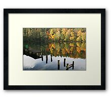 The old wharf in the autumn morning in fall Framed Print