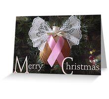 Merry Christmas (Pink Ribbon) Greeting Card