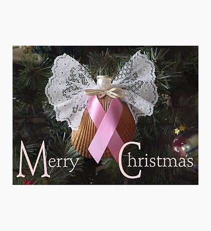 Merry Christmas (Pink Ribbon) Photographic Print