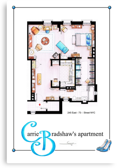 Carrie Bradshaws apartment as a Poster (TV version) by Iñaki Aliste Lizarralde