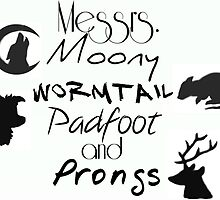 Messrs Moony, Wormtail, Padfoot and Prongs by beemckay