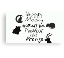 Messrs Moony, Wormtail, Padfoot and Prongs Canvas Print