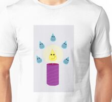 Happy Rain Drops and Candle Flame Unisex T-Shirt