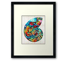 Colorful Nautilus Shell by Sharon Cummings Framed Print
