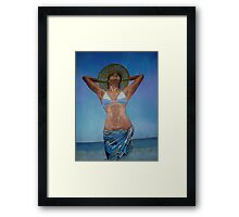 Woman Wearing Hat And Sarong  Enjoying Summer Framed Print