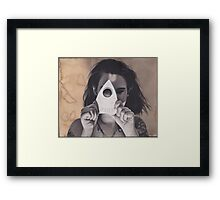 Realism Charcoal of Woman with Oujia Piece/Planchette Framed Print