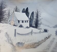 Cottage in the Snow by Estelle O'Brien