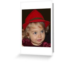 RED HAT GIRL Greeting Card