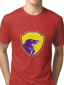 Raven Head Woodcut Retro Shield Tri-blend T-Shirt
