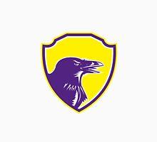 Raven Head Woodcut Retro Shield Unisex T-Shirt