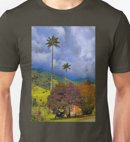 Columbia. Cocora Valley. Blooming Bushes and Wax Palms. Unisex T-Shirt