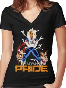 Saiyan Pride Women's Fitted V-Neck T-Shirt