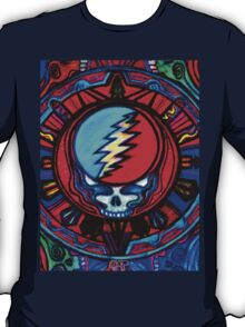 Grateful Dead Steal Your Face Skull / Jerry Garcia Tapestry Psychedelic Hippie Band Design T-Shirt