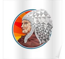 Native American Indian Chief Warrior Low Polygon Poster