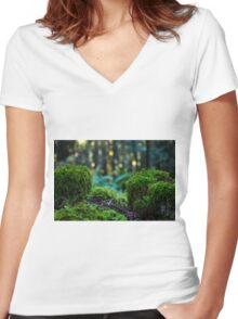 Moss fence with dancing light Women's Fitted V-Neck T-Shirt