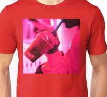 Surreal image of young woman drinking ice drink with straw Unisex T-Shirt