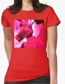 Surreal image of young woman drinking ice drink with straw Womens Fitted T-Shirt