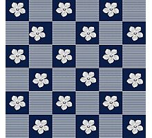 Blue flowered check  Photographic Print