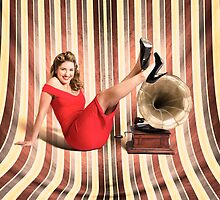 Happy pin up lady. Retro music and entertainment by Ryan Jorgensen