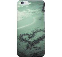 Love heart drawn on beach sand at low tide with ocean sea iPhone Case/Skin