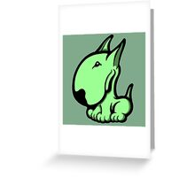 Odie English Bull Terrier Pale Green  Greeting Card
