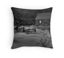 Snow Covered House at Night Throw Pillow