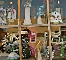 Reflections on Day of the Dead, Shop Window in Old Town Albuquerque, NM on Rt 66 by BHarrisonArts