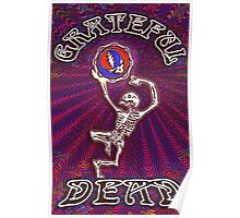 Grateful Dead 'Grateful Dance' Dancing Skeleton #2 Psychedelic Optical Illusion Skull Steal Your Face Fractal  Original Artwork Design by CAP Poster