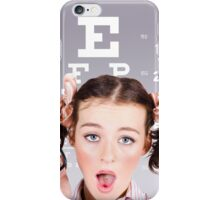 Vision impaired woman at optometrist iPhone Case/Skin