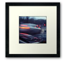 City lights cars in street at dusk Hasselblad medium format analog film Framed Print