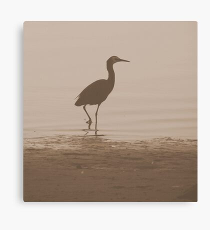 Sepia-Lone Crane Canvas Print