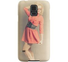 Retro yellow portrait of a beauty pinup girl Samsung Galaxy Case/Skin
