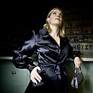 Bridget in Black Satin Evening Jacket by Lisa Defazio