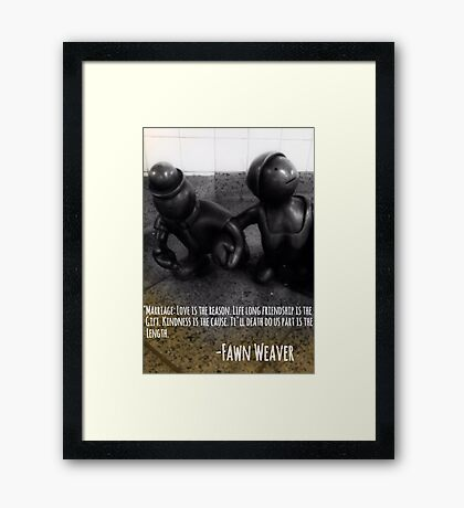 Marriage Qoute Old Couple Framed Print