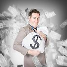 Business person with money sack. Financial success by Ryan Jorgensen