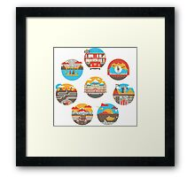 Wes Anderson Films Icon Illustrations Framed Print