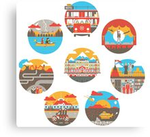 Wes Anderson Films Icon Illustrations Canvas Print