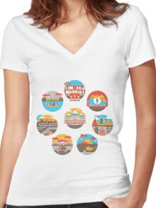 Wes Anderson Films Icon Illustrations Women's Fitted V-Neck T-Shirt