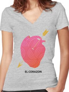 El Corazon  Women's Fitted V-Neck T-Shirt