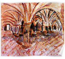 Interior of Cathedral, watercolor Poster
