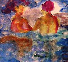 They found friendship in water, watercolor by Anna  Lewis