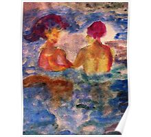 They found friendship in water, watercolor Poster