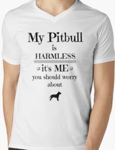 My pitbull is harmless - black on white Mens V-Neck T-Shirt