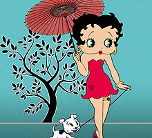 Betty Boop & Dog Pudgy - Out For A Stroll by Everett Day
