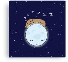 Sleeping Dog & Nightime Moon Canvas Print